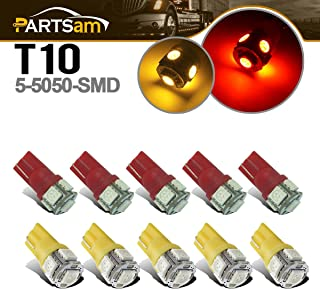Partsam T10 LED Light Bulbs 10pcs 5-5050-SMD T10 194 LED Bulbs top roof cab Marker Light Compatible with Dodge ram/Jeep/Ford/Chevy/Hummer RV Pickup Trucks