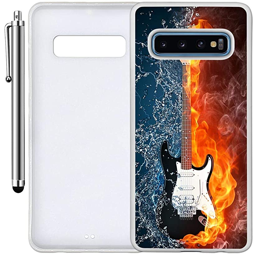 Custom Case Compatible with Galaxy S10 (Flame Water Art Guitar) Edge-to-Edge Rubber White Cover Ultra Slim | Lightweight | Includes Stylus Pen by Innosub