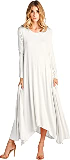 Solid Long Sleeve Pocket Loose Maxi Dress (S-XXXL) - Made in USA