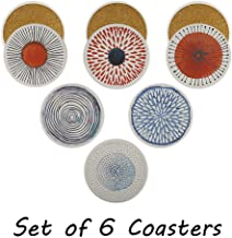 Set of 6 Acme Designs Drink- Absorbing Round Ceramic Stone Coasters With Cork Base,Tabletop Protection Mat, Suitable for All Kinds of Mugs and Cups for Home, Office and Kitchen (Colorful Series)