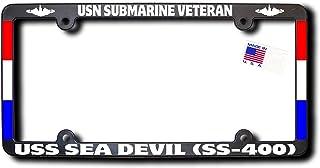 USN Submarine Veteran USS SEA DEVIL (SS-400) License Frame w/REFLECTIVE TEXT, DOLPHINS, RIBBONS
