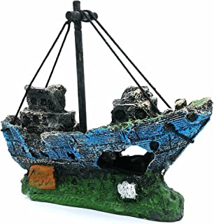 LIAMTU Aquarium Fish Tank Decoration Boat Resin Plastic Plant Ornament Perfect for 10..