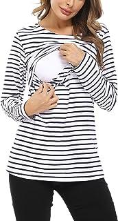 Hawiton Camisetas Lactancia de Manga Larga Invierno Camiseta de Algodon Lactancia Premamá Camisa de Maternidad para Mujer ...