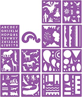 SOTOGO 14 Pcs Plastic Stencils Set Craft Educational Toys for Kids - Over 150 Patterns Painting Stencils For Children with...