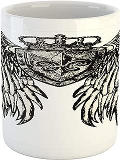 Lunarable Fleur De Lis Mug, Tribal Tattoo Design with Wings Historic Crest Crown and Eagle, Printed Ceramic Coffee Mug Water Tea Drinks Cup, Eggshell Black
