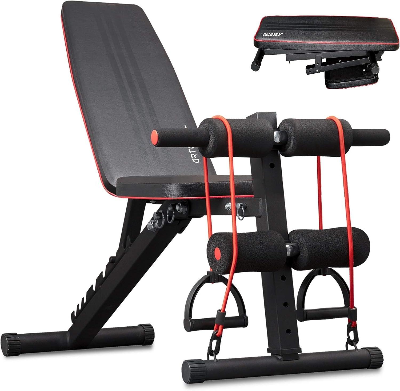 Panca Pieghevole Multifunzione arteesol Set per Allenamento di Tutto Il Corpo Panca Fitness con Pesi