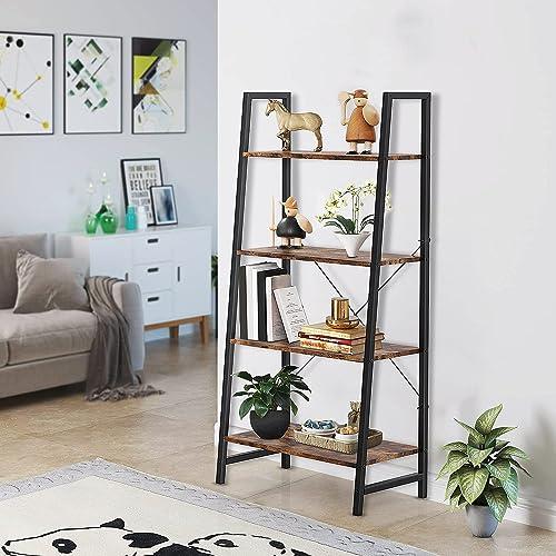 discount Yesker Ladder Shelf 4-Tier Bookshelf Home Office Bookshelf Plant Flower Stand online Multipurpose Utility Organizer Shelves sale with Wood Look for Entryway Hallway Living Room, Bedroom, Kitchen, Home Office sale