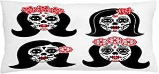 """Lunarable Voodoo Throw Pillow Cushion Cover, Mexican La Catrina Day of The Dead Themed Girl Skull Gothic Cultural, Decorative Rectangle Accent Pillow Case, 36"""" X 16"""", Black Vermilion and White"""