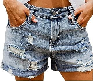 Macondoo Women's Hole Crimping High Waist Pocket Vintage Plus Size Denim Shorts