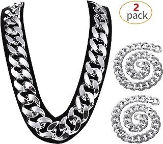 "Yo-fobu 2 Pack Hip Hop Chain Necklace Silver Huge Rapper Costume Plastic Necklace Jewelry Rapper Necklace ,31.5"" Long,1.4"" Wide (Silver, Wide)"
