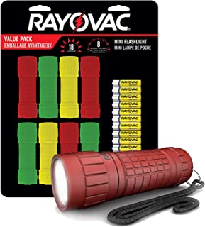Rayovac Mini LED Flashlight 8 Pack, Rubber-Grip LED Flash Lights, Safe Flashlights For Kids, Power Outages, Camping Accessories, 24 AAA Batteries Included