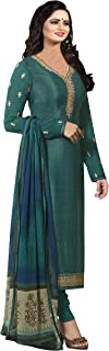 Fashion Basket Women's Royal Crepe Embroidered Semi-Stitched Straight Salwar Suit