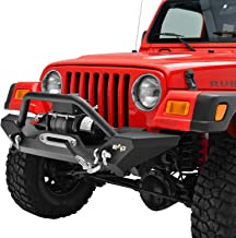 KML Front Bumper with Winch Plate Black Fit for 87-06 Jeep Wrangler TJ YJ