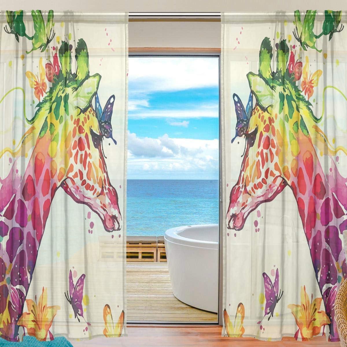Mr.Brilliant おすすめ Giraffe Butterfly Sheer for Waterc Bedroom Curtains 激安挑戦中