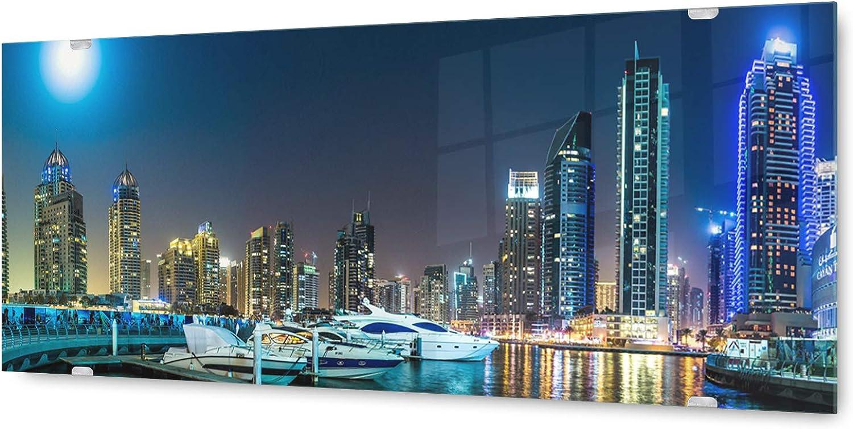 KD Dsign+ Glasbild Wandbild GLX12566769552 Dubai Skyline 125 x 50cm   inkl. neues Aufhngesystem
