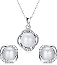 Stunning Flawless Pearl Stud Earrings & Silver Chain Pendant Set| Impeccable Quality Natural, Flawless Freshwater Pearl & 925 Sterling Silver| The Most Unique Fashion Jewelry Set (1 | White Pearls)