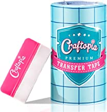 Craftopia transfer paper tape roll 6 inch x 50 feet clear with blue alignment grid, 10 bonus ft perfect for cricut cameo self adhesive vinyl for signs stickers decals walls doors windows
