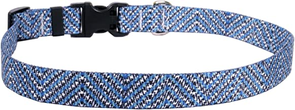 """Yellow Dog Design Blue Tweed Dog Collar 1"""" Wide And Fits Neck 18 To 28"""", Large"""