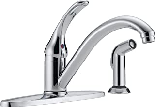 Delta 400-DST-L Classic Single Handle Kitchen Faucet with Spray, Chrome