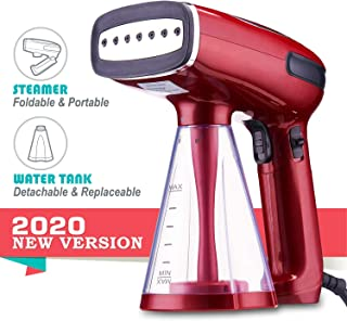 BusyPiggy Upgrade Handheld Steamer for Clothes, Mini Foldable Portable Steamer, Clothes Steamer for Traveling, 3 Steaming Modes, 25s Fast Heating up, Auto-Off, Detachable and Replaceable Water Tank