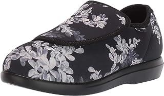 Propet Women's Cush 'N Foot Slipper, Black Floral, 6.5 Wide