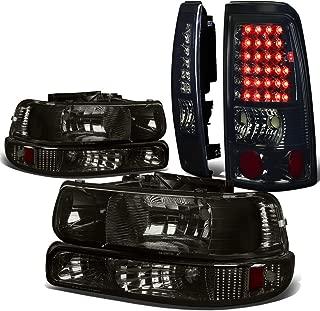 For Chevy Silverado GMT800 4pc Pair of Smoked Lens Amber Corner Headlight + Chrome Smoked Lens LED Tail Light