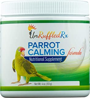 UnRuffledRx Bird Calming Formula Avian L-Theanine Herbal Stress Relieving Parrot or Parakeet Supplement - Prevents Anxiety Induced Feather Plucking (4 oz 113 Grams)