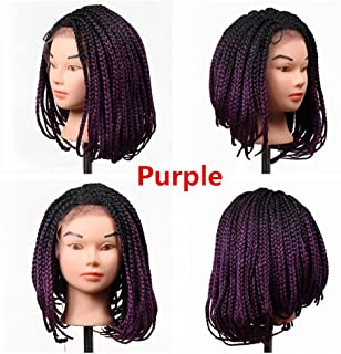 Eunice Hair 14 Inch Micro Box Braided Wigs Bob Style Lace Front Wig for Black Women Glueless Medium Length Bob Braided Lace Wig with Baby Hair for Daily Wear for Women (14 inch, Purple)