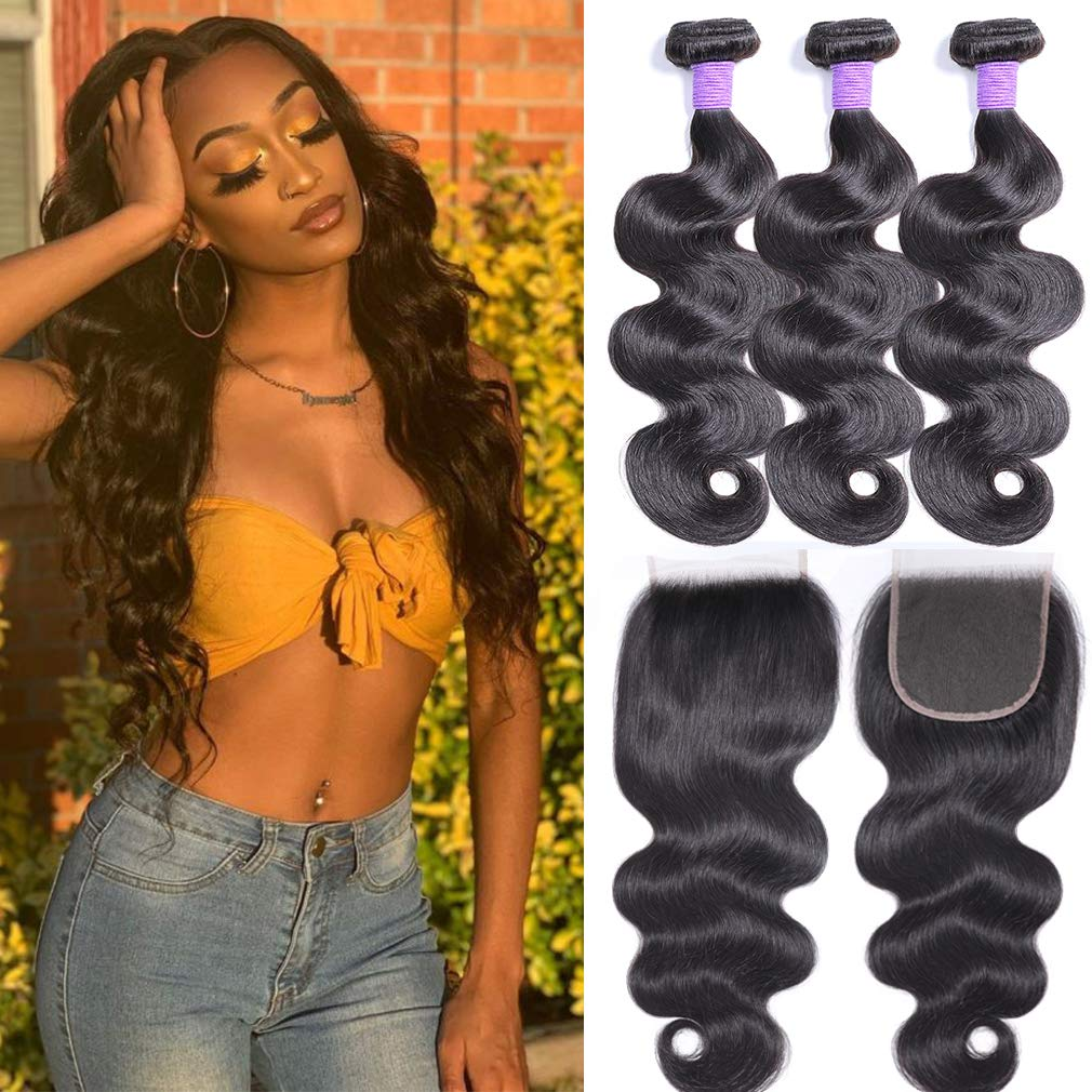 Brazilian Body Wave Bombing free shipping Virgin Hair Bundles 16 with Denver Mall Lace Closure 14