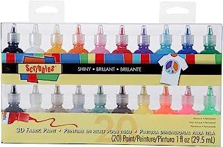 Bulk Buy: Scribbles Shiny 3D Paint - Pack of 20 Ultra Bright, Nontoxic & Permanent Dimensional Paints for Fabrics, T-shirt...