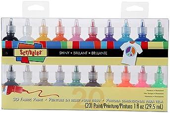 Bulk Buy: Scribbles Shiny 3D Paint - Pack of 20 Ultra Bright, Nontoxic & Permanent Dimensional Paints for Fabrics, T-...