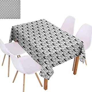 zojihouse Moon Crescent Moon Pattern with Flying Swallow Birds and Stars Cosmic Boho Gypsy Pattern Dust-Proof Tablecloth Durable W70xL94 Black White