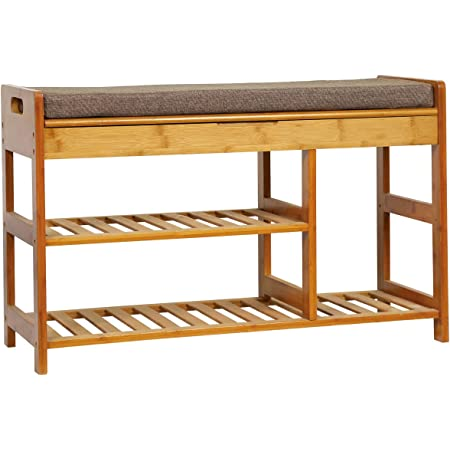 Modern 3 Tier Shoe Rack with Storage and Foam Pad Seat for Hallway Living Room Bedroom Corridor 36 Lx11.4 W Natural Bamboo Entryway Bench HOMECHO Shoe Rack Bench -