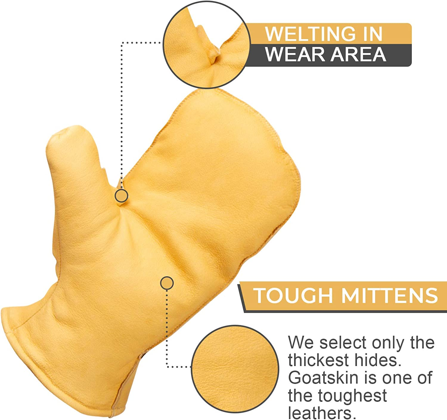 Leather Mittens Sherpa Fleece Lined Mens Winter Chopper Mitt in Small,Med,Large,XL, or XXL