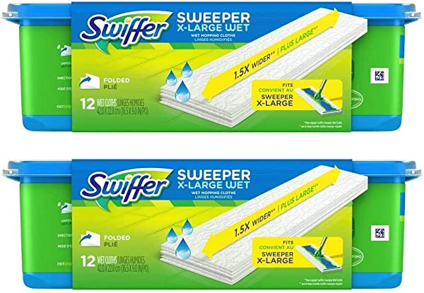 Swiffer Sweeper X Large Wet Mopping Cloths Refills Open Window Fresh 12 Folded Sheets Pack Of 2
