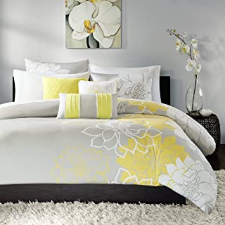 Madison Park Lola Duvet Cover Full/Queen Size - Yellow, Grey , Floral, Flowers Duvet Cover Set – 6 Piece – Cotton Sateen, Cotton Poly Crossweave Light Weight Bed Comforter Covers