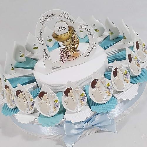 Bomboniere Kommunion Kuchen mit Flamme Bild Kind Sacramento Versand inklusive Torta da 28 fette