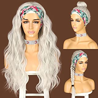 Sapphirewigs Glueless Headband Wig Loose Body Wavy Synthetic Hair Wigs for Black Women Wave None Lace Front Wigs Gray Silv...