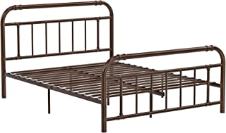 VASAGLE Metal Headboard and Footboard, Pipe Frame, No Box Spring Needed Platform, Under-Bed Storage, Industrial Vintage Style, Full Size, Brown URMB033BR