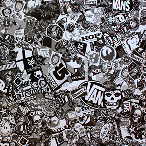 Glossy Foil Sticker Bomb 150 x 50 cm, Black and White, Thermo-Formed, Car Wrapping by vinyl