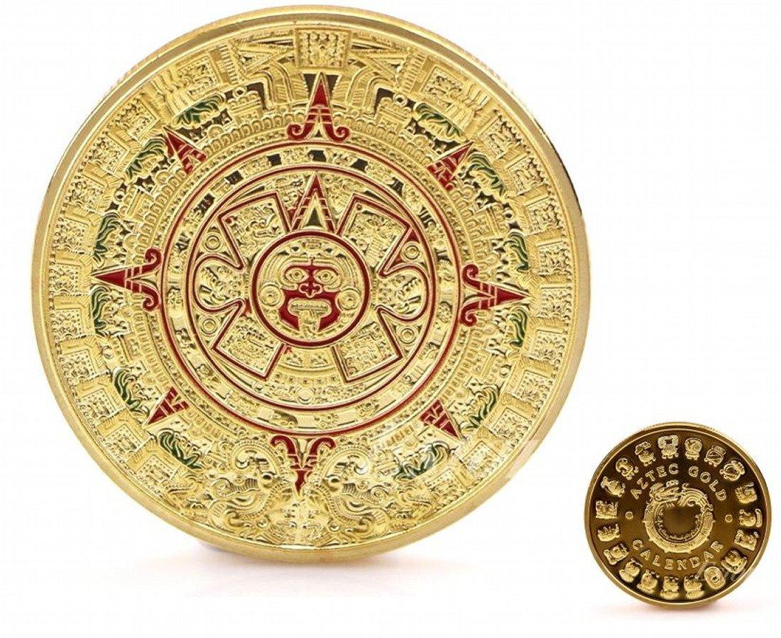 Calendario Maya Azteca Recuerdo 24k chapado en oro Moneda conmemorativa Colección Calendario Maya acuñar: Amazon.es: Hogar