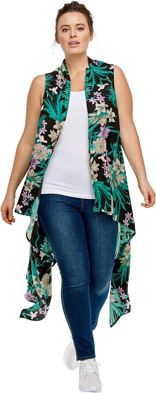 ellos Women's Plus Size Printed Open Front Duster Vest