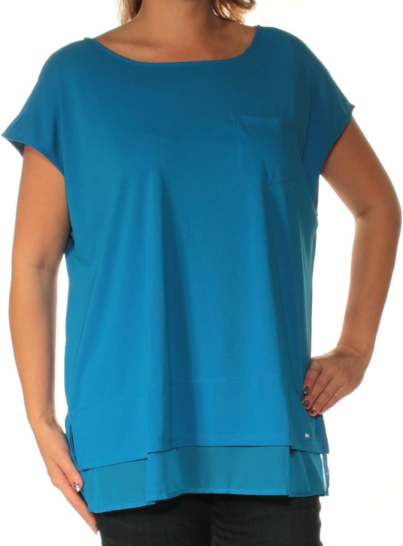 Tommy Hilfiger Women's Plus Size Sheer-Hem Pocket T-Shirt (0X, Blue Orchid)