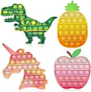 اسباب بازی های حسی 4 پاپ Fidget Fidget ، اسباب بازی های حسی ASONA Tie Dye Pop Bubble Unicorn Dinosaur Fidget برای کودکان و بزرگسالان کاهش استرس ، مواد یادگیری اوتیسم ADHD