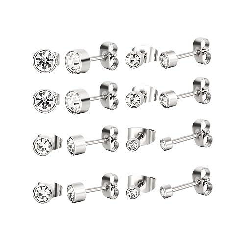 165c36437 8 Pairs Stainless Steel Stud Earrings Zirconia Ear Ring Body Piercing, 4  Sizes, Silver