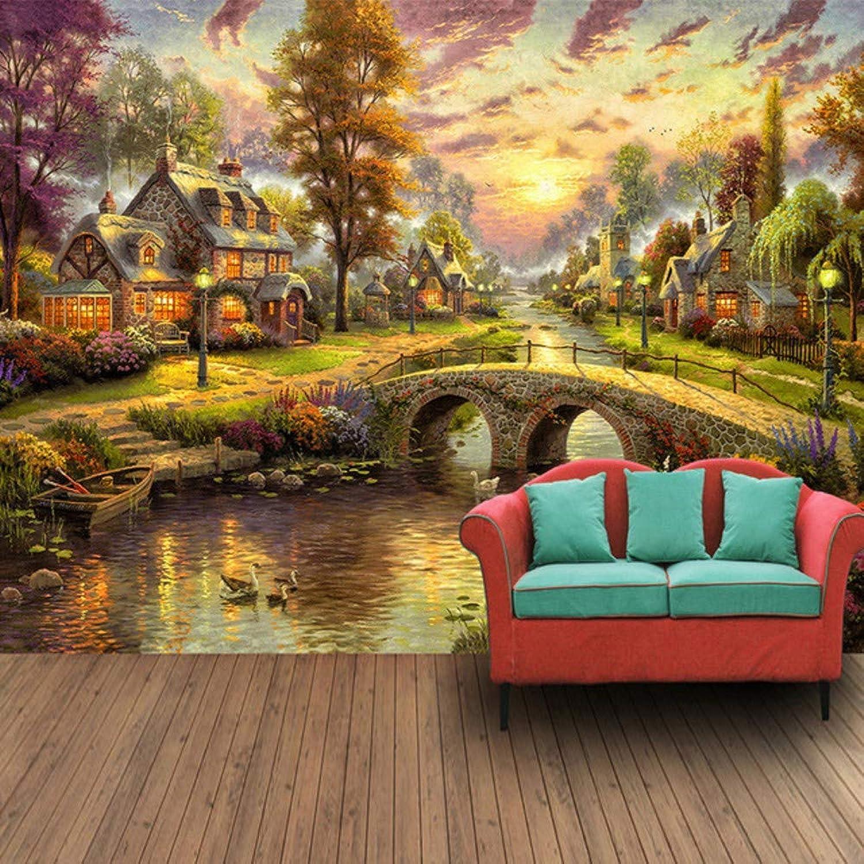 Entrega directa y rápida de fábrica Mural Mural 3D Personalizado Pintado A Mano Mano Mano Estilo Europeo Bosque Hut Vista Nocturna Pintura Al óleo Arte Parojo Mural Sala De Estar Papel De Parojo-200X140CM  promocionales de incentivo