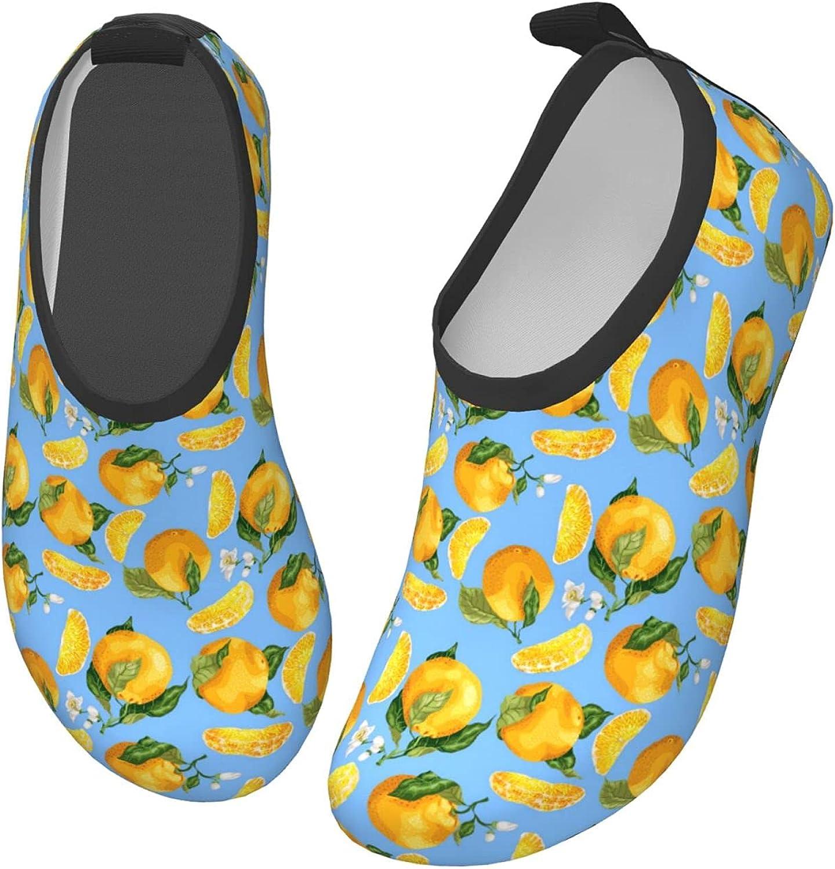 Jedenkuku Cute Blue Orange Fruit Children's Water Shoes Feel Barefoot for Swimming Beach Boating Surfing Yoga