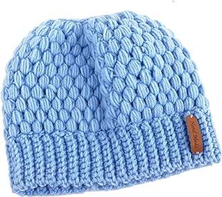 Legou Women's Ponytail High Bun Knit Beanie Hat