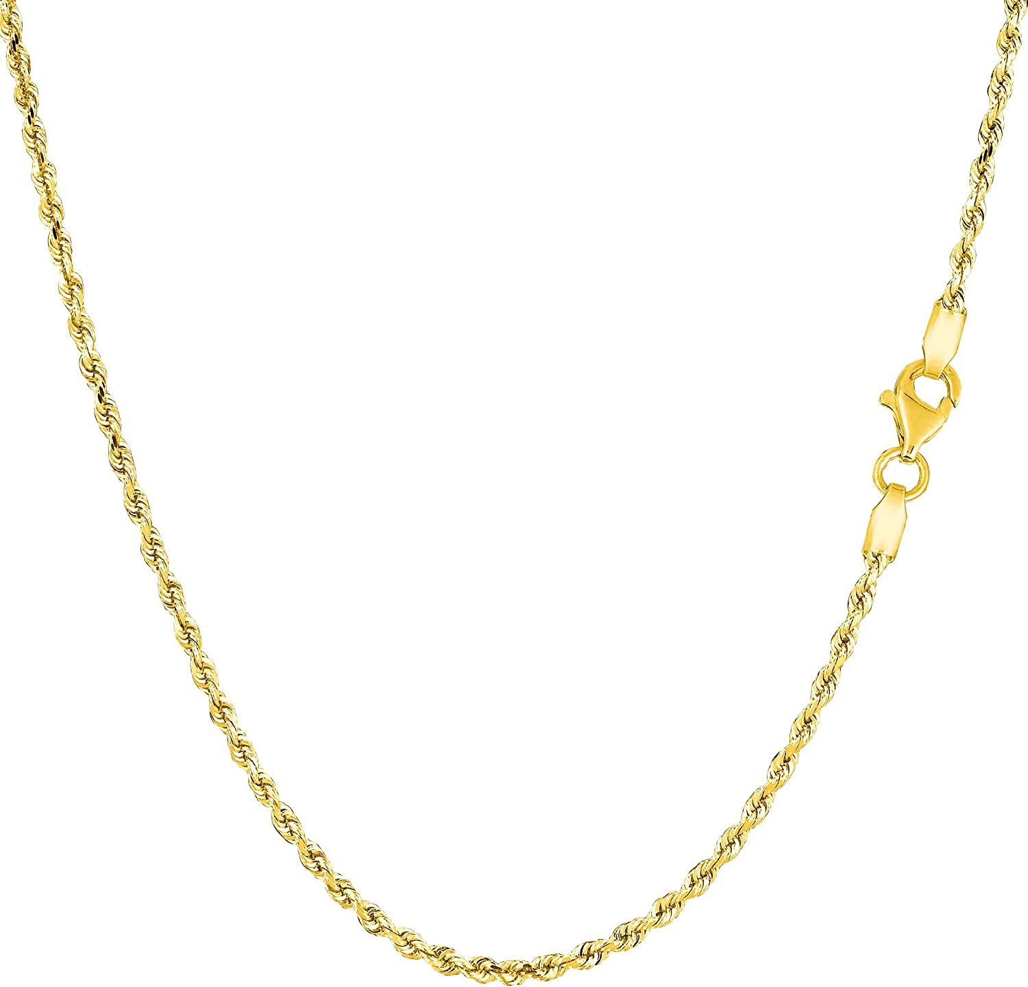 14k Yellow Solid Gold Diamond Cut Rope Chain Necklace, 1.5mm