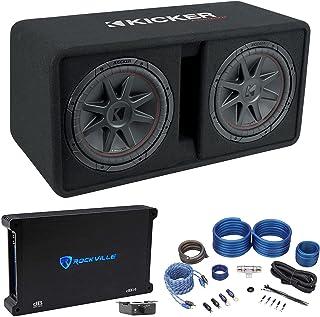 "$554 » KICKER 48DCVR122 CompVR 1600w Dual 12"" Subwoofers with Vented Sub Box Bundle with Rockville dB14 Mono Amplifier Car Audio ..."